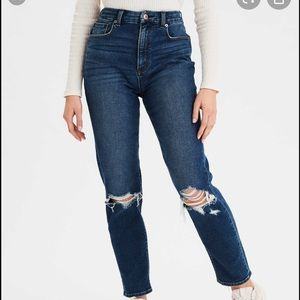 American Eagle Stretch Distressed Mom Jeans